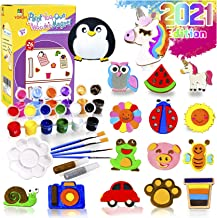 YOFUN Paint Your Own Wooden Magnet - 26 Wood Painting Craft Kit and Art Set for Kids, Art and Craft Supplies Party Favors ...