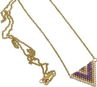 Collana perle giapponesi viola oro beige triangolo tessitura a catena chevron catena in acciaio inox regali personalizzati...