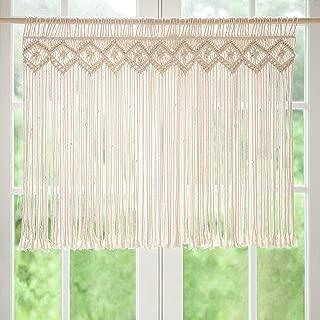Mkono Macrame Valance Window Treatments Panels Curtain Woven Boho Wall Hanging Home Decor for Apartment Dorm Room Living Room Kitchen Bathroom