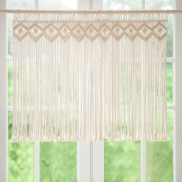 Mkono Macrame 窗户面板窗户窗帘处理波西米亚风格家居装饰公寓宿舍客厅厨房浴室