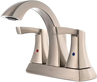 Spring Centerset two-handle Bathroom Faucet Brushed Nickel Finished - Stainless Steel Faucet 2-Hole Easy Installation Drain Assemblely Included, Temperature Control Lever 18412CV3NN by Koozzo