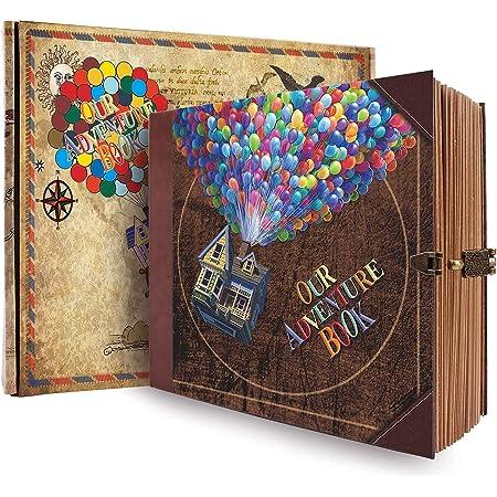 COMBIUBIU Scrapbooks, Albums Photo DIY, Agendas, Cadeaux Créatifs, 22cmx19.5cm 146 Pages Anniversaire/Mariage/Saint Valentin/Voyage/Noël/Halloween avec des Accessoires Exquis(Ballon)