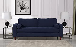 Mid Century Modern Velvet Fabric Sofa, Couch with Bolster Pillows (Navy)