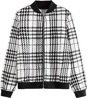 Verdusa Women's PU Leather Contrast Stripe Metallic Bomber Jacket