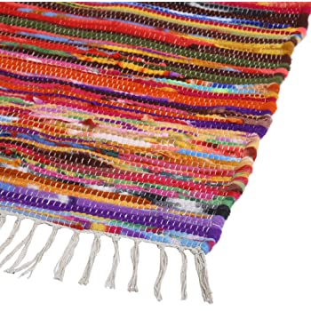 Hand Woven Chindi Rug - Indian Countryside Fresh Cotton Fabric Braided Bohemian Floor Doorway Rag Rugs - Multicolor - 20x32 Inch