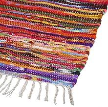 Colorful Boho Area Rug - Indian Handmade Decorative Chindi Floor Rag Rugs Ethnic Rajasthani Home Decor Country Rustic 20 x...