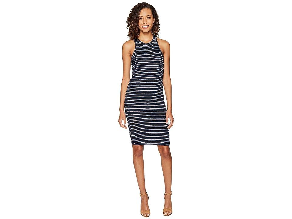 Splendid Stripe Rib Knit Tank Dress (Navy) Women