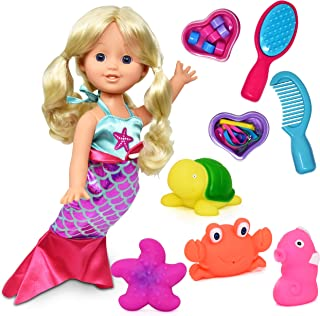 Mermaid Doll, 12 Inch Princess Doll with Blonde Hair and Hair Accessories, Comb, Clips, Brush, Waterproof Plastic Bath Toy...