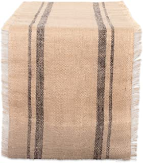 """DII Mineral Double Border Burlap Table Runner, Gray, 14"""" x 108"""""""