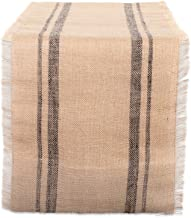 """DII Jute Collection Kitchen Tabletop, Table Runner - 14 x 108"""", Double Stripe Gray"""