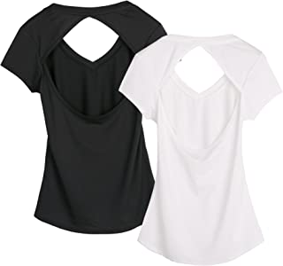 Activewear Fitness Yoga Tops Workout V Neck Open Back T-Shirts for Women