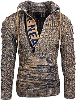 Suéter de Cuello Alto con cordón para Hombre, suéter con Cremallera, Tapeta, Estampado de Letras, pulóver de Moda Informal...