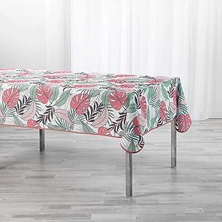 Douceur d'Intérieur Beauty Jungle Linge DE Table, Blanc/Rose, 150 x 240 CM