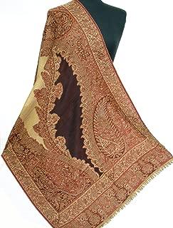 Exotic Design Hand Cut Wool Jamawar Shawl Brown & Red Jamwar Paisely Pashmina