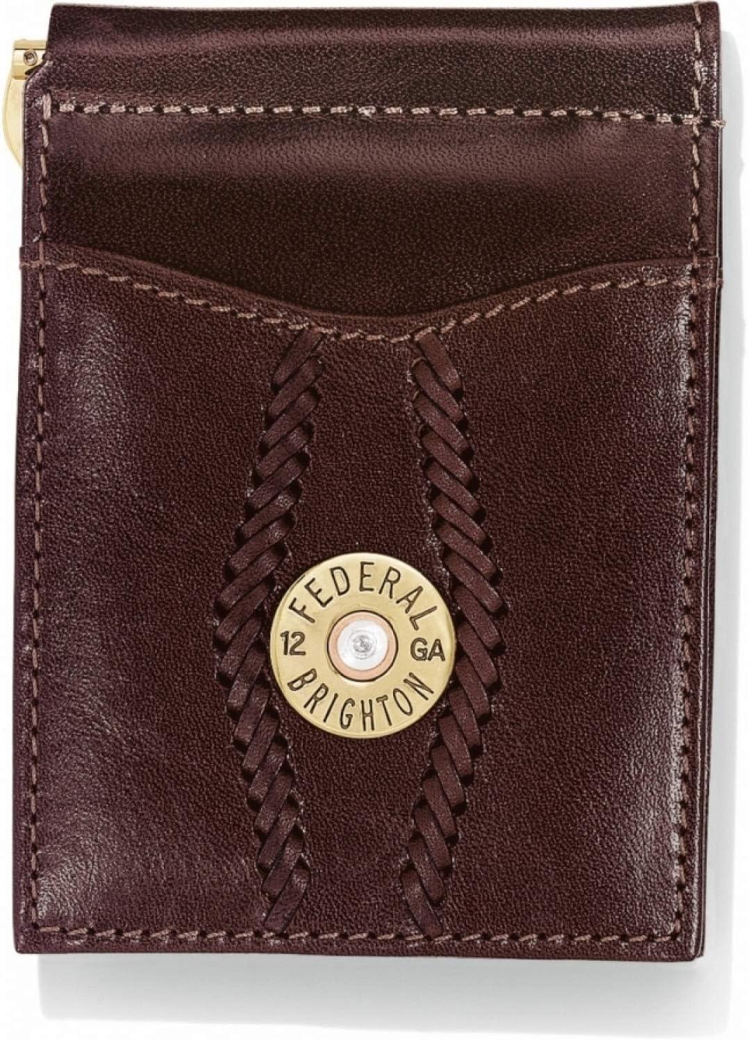 Brighton Macon County Money Clip Wallet - Mens Leather - BROWN [ 4 1/2