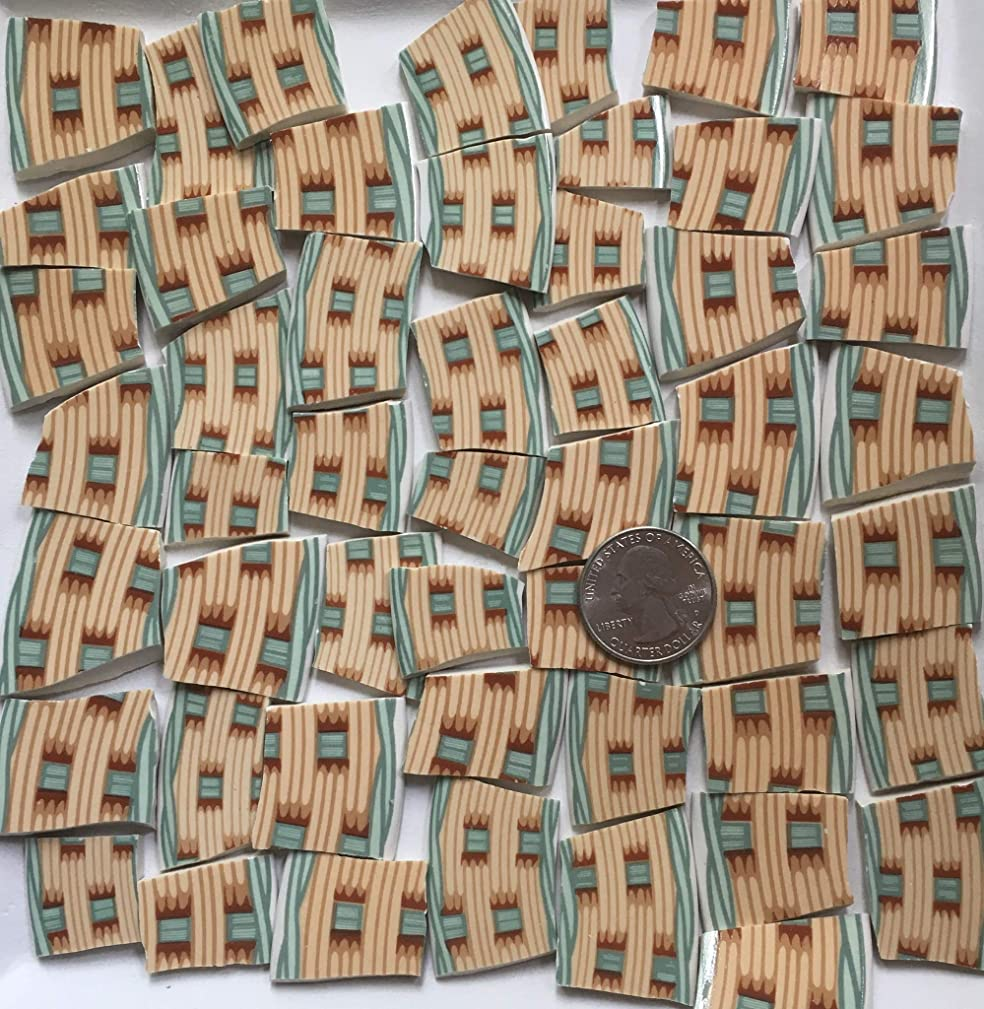 Broken China Mosaic Tile Art Supply for Crafts ~ Green Beige & Brown Basket Weave Tiles (T#A113)