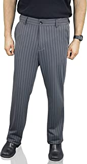 Men's Business Casual Sweatpants, Soft Stretch, Grey Double Pinstripe