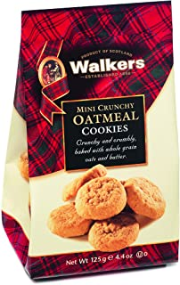 Walkers Shortbread Mini Crunchy Oatmeal, Traditional Pure Butter Shortbread Cookies with Oats, 4.4 Ounce Bags (6 Bags)