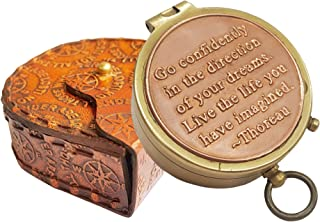 Brass Nautical Thoreau's Go Confidently Embossed Solid Brass Compass with Leather Case