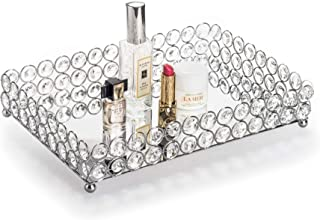 Feyarl Mirrored Crystal Vanity Makeup Tray Ornate Jewelry Trinket Tray Organizer Cosmetic Perfume Bottle Tray Decorative Tray Home Deco Dresser Skin Care Tray Storage (Rectangle 12