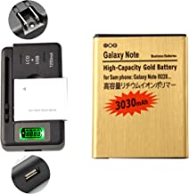Gold Extended Samsung Galaxy Note SGH-i717 High Capacity Battery EB615268VA EB615268VU + Universal Battery Charger With LED Indicator For Samsung Galaxy Note SGH-i717 / Samsung Galaxy Note SGH-T879 / Samsung Galaxy Note GT-N7000 / Samsung Galaxy Note GT-I9220 3030 mAh