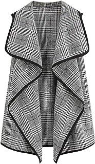 Cardigan Donna Cappotto Casual Cost Women Plaid Open Front Senza Maniche Cappotti Giacca Parka Outwear Cardigan Cappotto T...