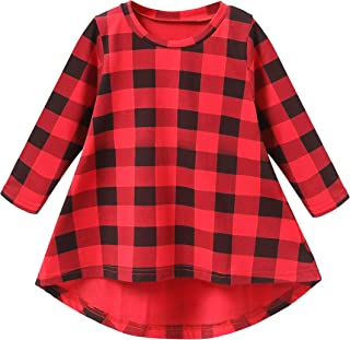 Toddler Baby Girl Plaid Shirt Dress Long Sleeve Princess Party Dress Clothes Outfits