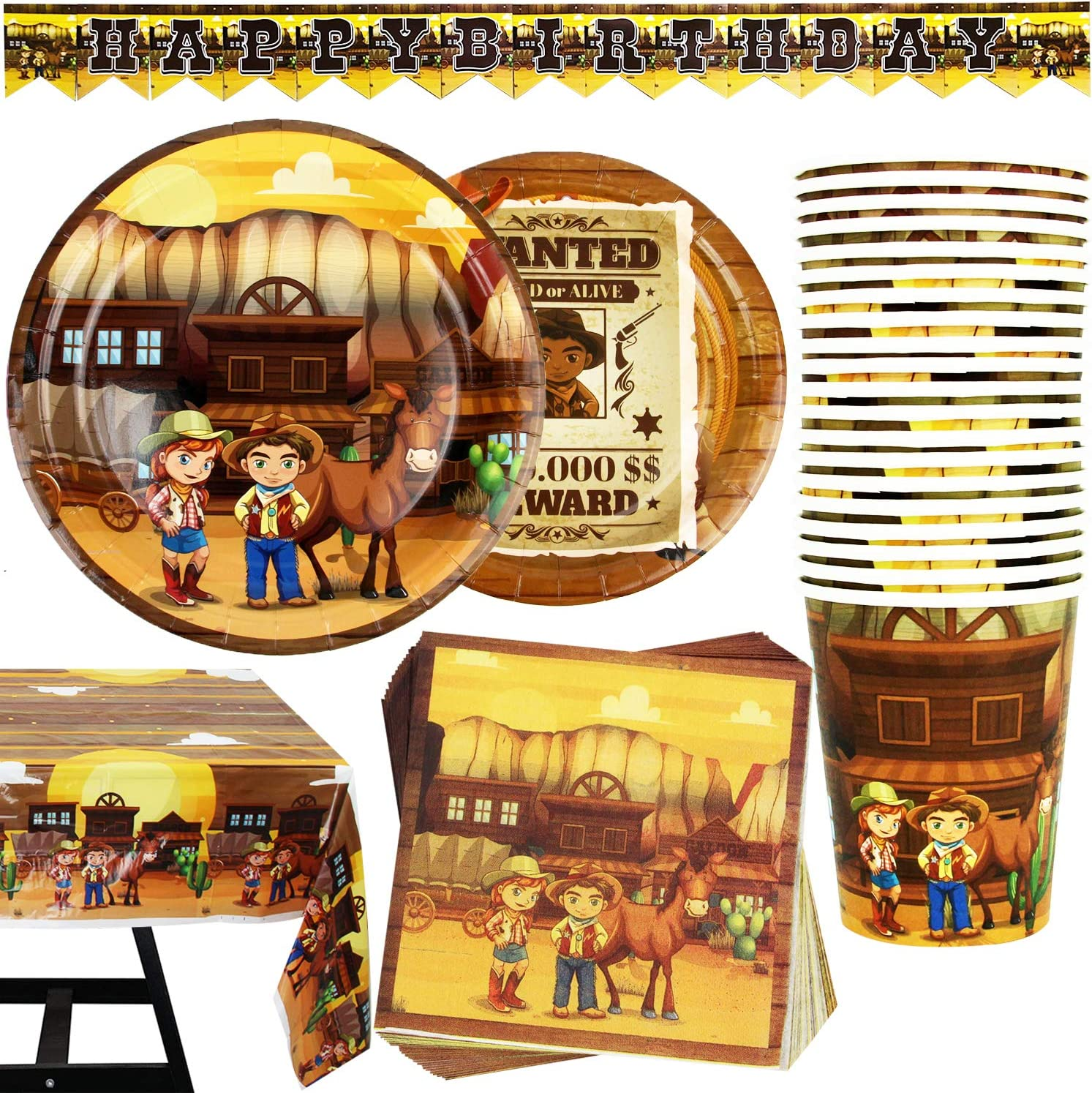 82 Popularity Piece Cowboy Wild West Safety and trust Party Set Including P Banner Supplies