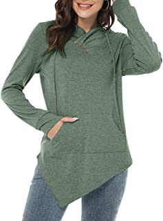 Womens Long Sleeve Tunic Tops Irregular Hem Hoodies with...
