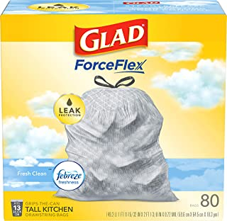 Glad ForceFlex Tall Kitchen Drawstring Trash Bags – 13 Gallon Trash Bag, Fresh Clean scent with Febreze Freshness – 80 Cou...