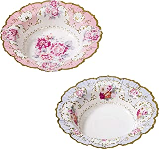 Talking Tables Pack of 12 : Size 7. 5 Truly Scrumptious Vintage Floral Bowls For Afternoon Tea Party or Birthday Celebrati...
