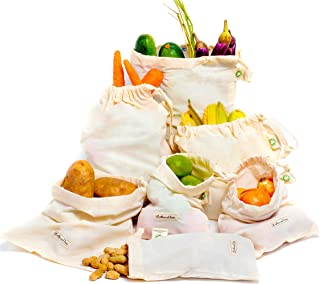 Cotton Produce Bags organic designed in USA - Cotton Reusable Grocery Produce Bags Set of 6 Pack (2 of L, M, S) - Cloth Produce Bags Washable - Organic Cotton Bags with Drawstring