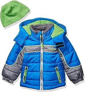 London Fog Boys' Little Color Blocked Puffer Jacket Coat with Hat,Blue Green Hat,5/6