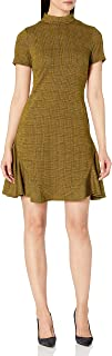 Nanette Nanette Lepore Womens NN9F12S144 Mock Neck Plaid Dress with Side Panels and Invisible Zipper Short Sleeves Busines...