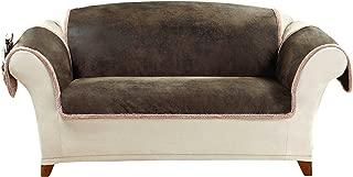 SureFit Vintage Leather - Loveseat Slipcover - Brown