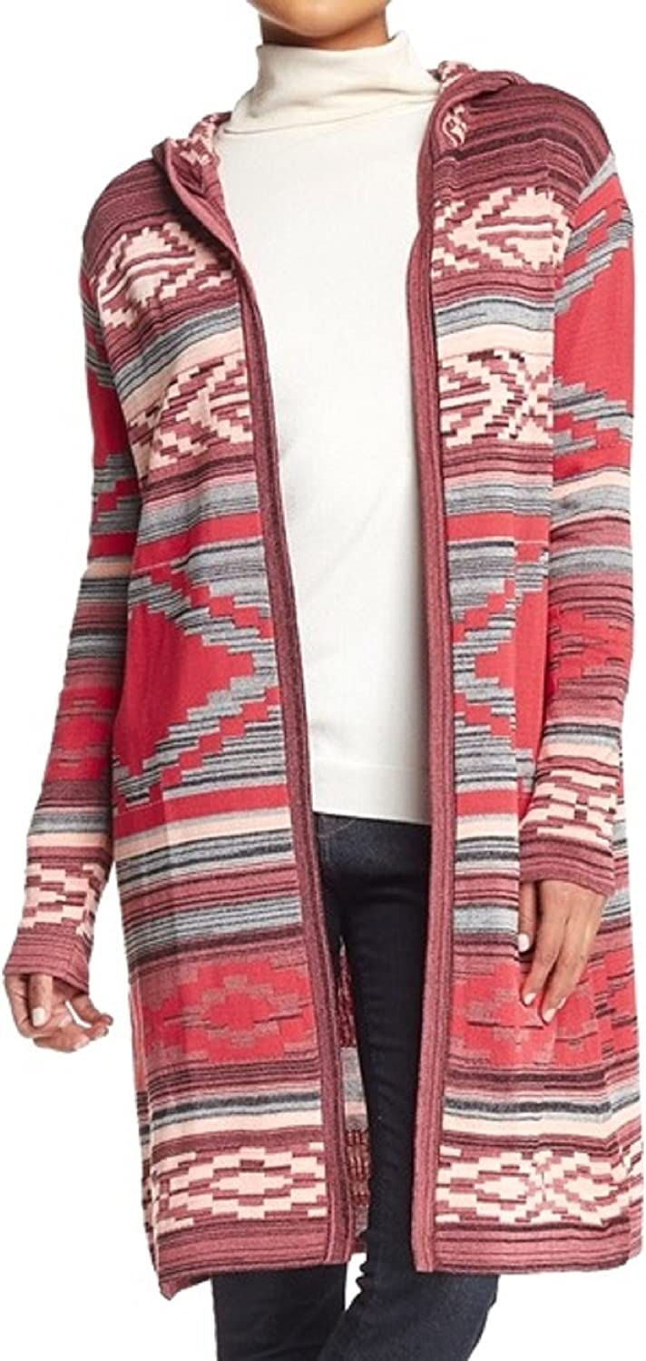Ceny Women's Hooded Aztec Duster Sweater, Pink, Petite Small
