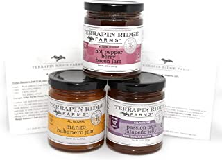 Terrapin Ridge Farms Sweet & Spicy Gourmet Jam Sampler Pack Set of 3 Jars with Recipe Cards - Hot Pepper Bacon Jam - Mango Habanero Jam - Passion Fruit Jalapeno Jelly