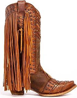 CORRAL Women's Mayela Woven & Fringed Snip Toe Cowboy Leather Boots, Brown/Tan, 6 Medium