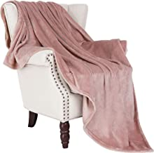 "Exclusivo Mezcla Luxury Flannel Velvet Plush Throw Blanket – 50"" x 60"" (Pink)"