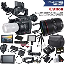 Canon EOS C200 Cinema Camera 2215C002 & 24-70mm f/2.8L II USM Lens with 2 Memory Cards, 2 Extra Batteries, Mic, Case, Led Light, External Monitor, and More - Professional Bundle