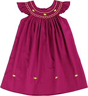 sissymini - Infant and Toddlers (12M-4T) Beatrice Oswald`s Soft Hamd Smocked Angel Sleeve Dress
