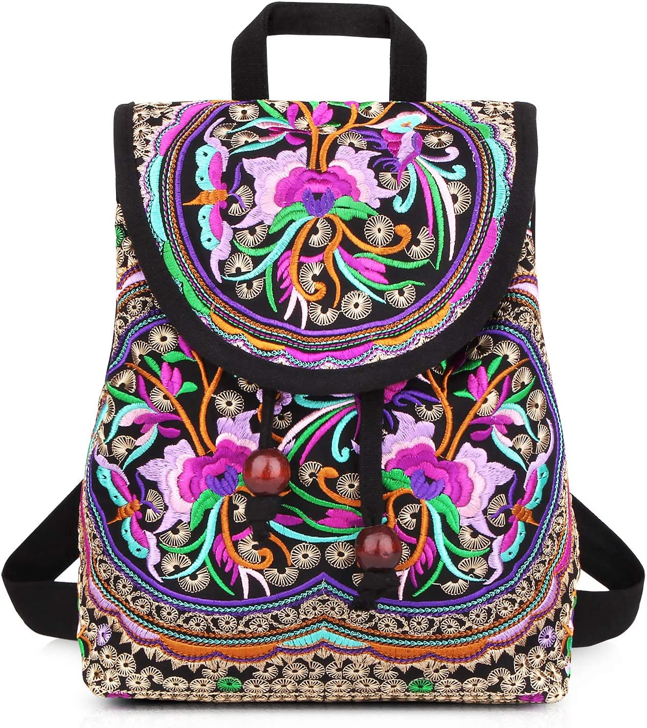 Handmade Embroidered Backpack for Women Max 56% OFF Shoulder Columbus Mall Mazexy Boho Ba