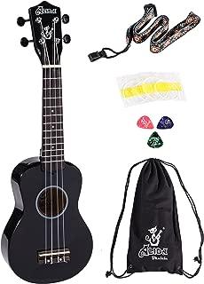 Alida Basswood Black Color Soprano Ukulele For Beginner kid Guitar Bundle with Bag, Strap, Spare Strings and Picks