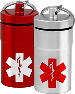 2 Mid-Size Stash Jars, Airtight Waterproof Smell Proof Container Pill Holder with Medical Emblem, Secures Nitroglycerin Nitro Bottle Aspirin Ibuprofen Medications Herbs Food Plus, EDC Keychain Fob