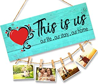 Go Hooked Home Decor Home -This is Us- Home Sign for Rustic Farmhouse Wall Living Room with Clips and Twine for Picture Ha...