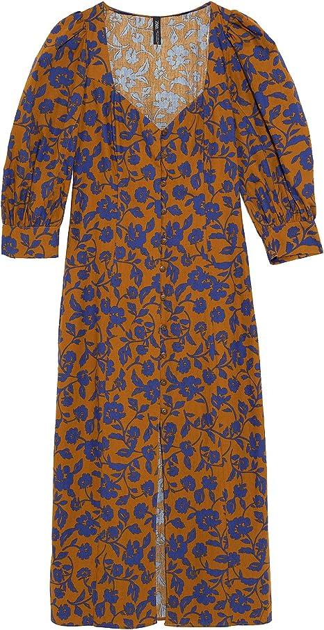 Zara 8209/454 Vestido Estampado de Popelina para Mujer Rosa ...
