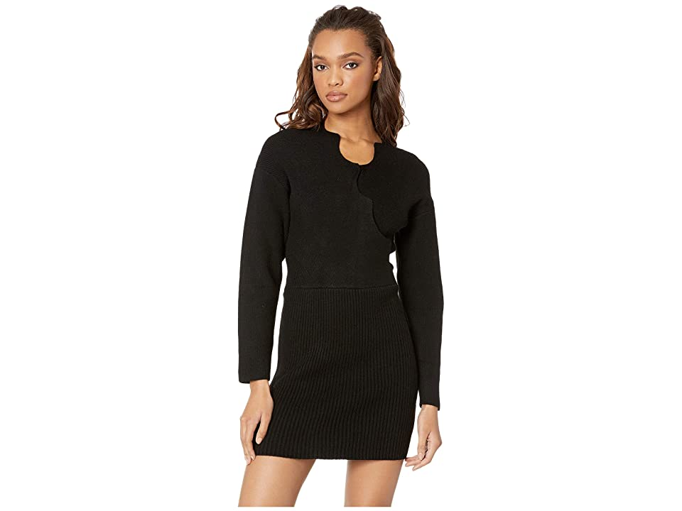 J.O.A. Knit Sweater Dress with Scallop Neckline (Black) Women