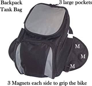 Motorcycle Magnetic Tank Bag Expandable Black and Grey with Shoulder strap