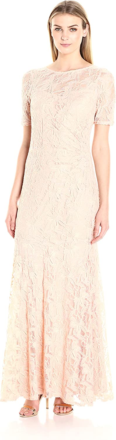 Decode 1.8 Womens 3 4 Sleeve Lace Gown with Ruch Side Dress