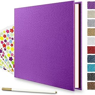 Self Adhesive Photo Album, LUNIQI 40 Pages Linen Hardcover Magnetic Scrapbook, Burlap Cover for DIY Anniversary, Valentine...